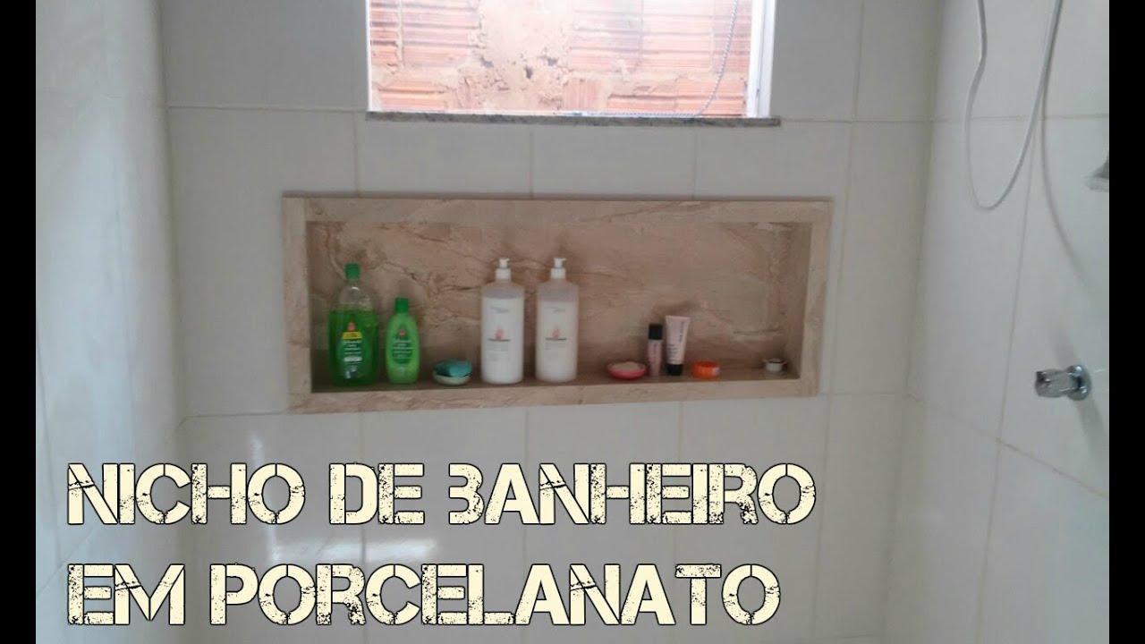 Nicho em porcelanato  YouTube -> Nicho Para Banheiro De Porcelanato