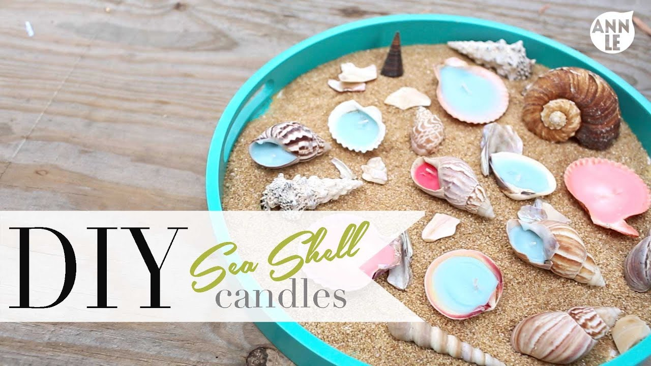 Diy sea shell candle summer home decor ann le youtube for Summer beach house decor