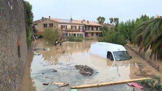 Inondations dans l'Aude : Trèbes sous les eaux