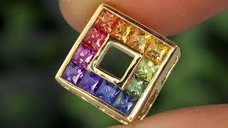 AIG Certified 1.36 tcw Sapphire Fancy Sapphire and Ruby Rainbow Pendant Necklace