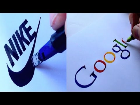 AMAZING CALLIGRAPHY DRAWINGS - FAMOUS BRANDS LOGOS