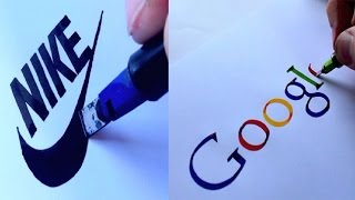 AMAZING CALLIGRAPHY DRAWINGS - FAMOUS BRANDS LOGOS 2018