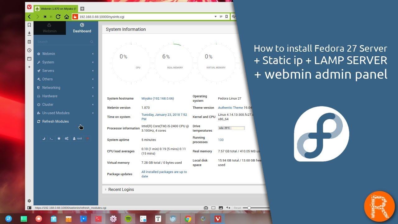 How to install Fedora 27 Server + Static ip + LAMP SERVER + webmin admin  panel