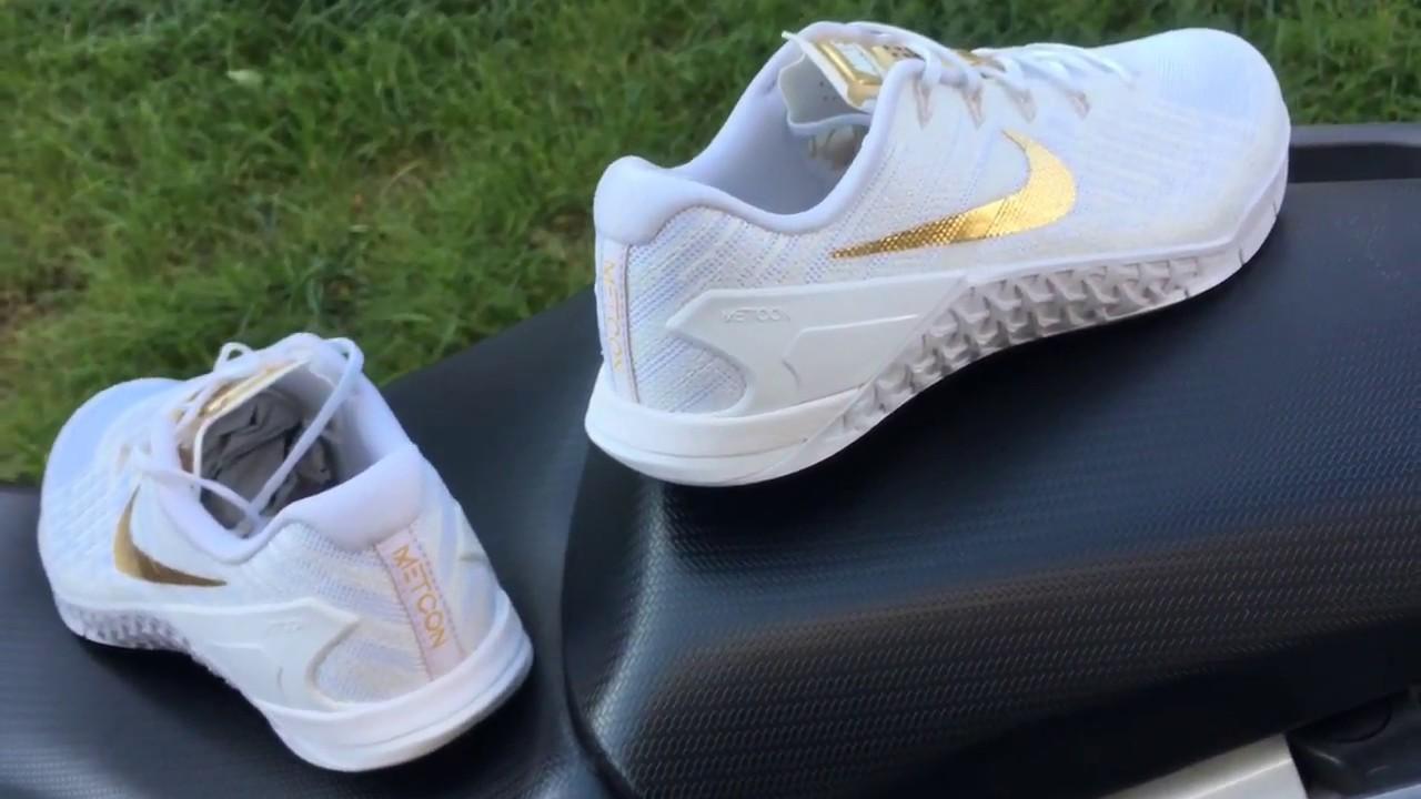 82106dcc5eaf0 Nike Metcon 3 AMP White Metallic Gold - YouTube