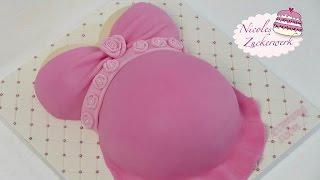Babybauch Torte für Baby-Party | Baby Shower Cake | von Nicoles Zuckerwerk