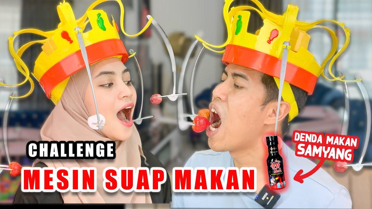 Challenge Mesin Suap Makanan ! Kalah Minum Sos SAMYANG !