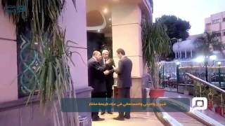 مصر العربية | شيرين والليثي والمسلماني في عزاء كريمة مختار