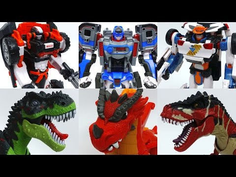 3 Transforming Robots Vs. Dinosaurs and Dragon~! Tobot Athlon Season 3 Transforming Robots