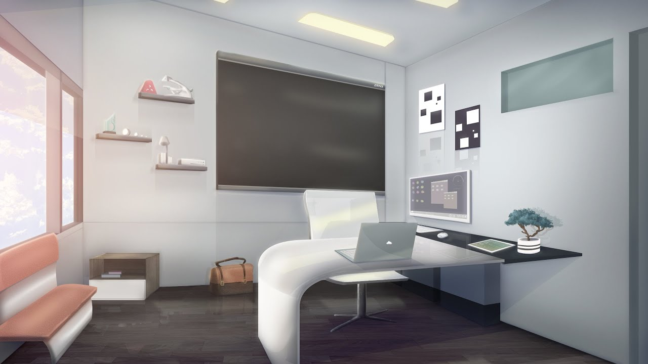 Visual novel background speed paint 01 office youtube for Office images