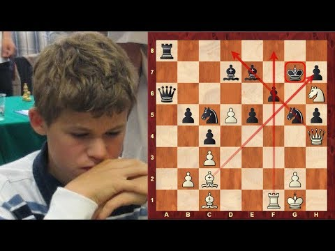 Amazing Chess Game: Magnus Carlsen's beautiful Queen Sacrifice game at age of 12! (Chessworld.net)