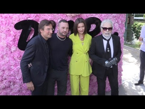 Robert Pattinson, Bella Hadid, Karl Lagerfeld and more backstage after the Dior Homme Fashion  i