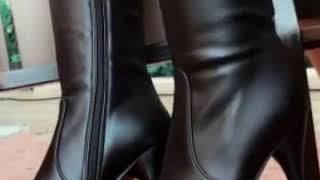 HS 여성 신발 겨울 가죽 롱부츠 플랫 슈즈 24 Jf…