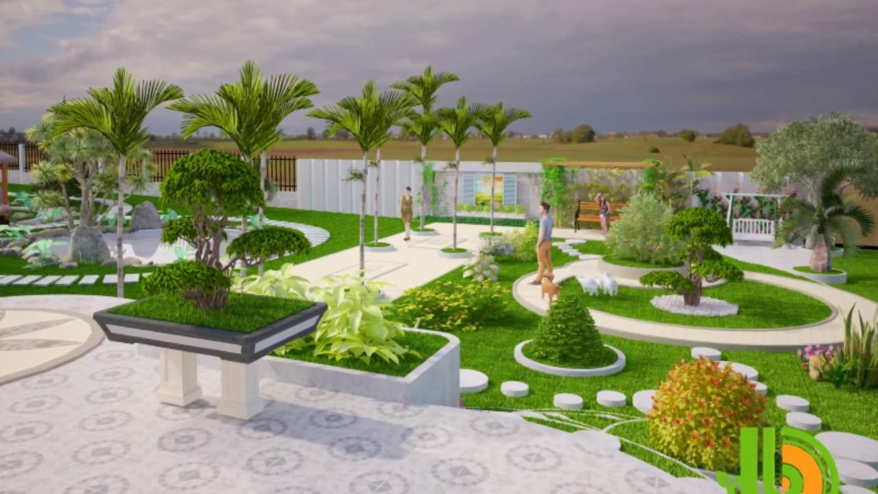 Bản vẽ thiết kế sân vườn biệt thự Anh Hùng Tại DakLak