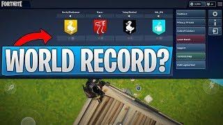 We almost beat a Fortnite Mobile WORLD RECORD!! (Squad Kill World Record Attempt)