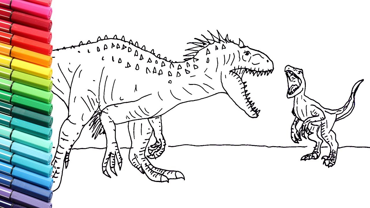 How To Draw The Indominus Rex Vs Blue Drawing Jurassic