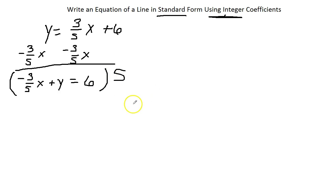 Write An Equation Of A Line In Standard Form Using Integer C Youtube
