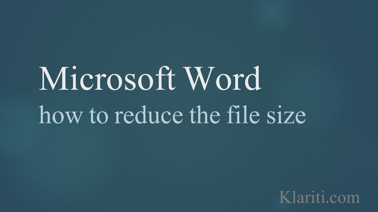 Ms word how to reduce the file size by 60 youtube toneelgroepblik Images