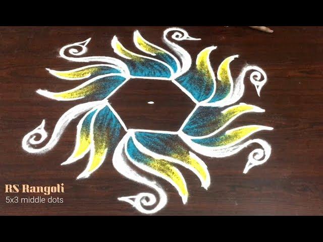 SANKRANTHI Muggulu Latest cute swan rangoli design with 5 dots    creative PONGAL kolam