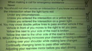 California DMV written driving test, Feb 20 2013,all answers correct.