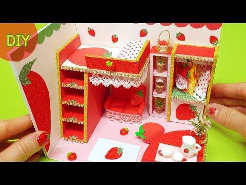 DIY miniature dollhouse room - strawberry room decor !!