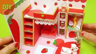 DIY miniature dollhouse room - strawberry room decor !!