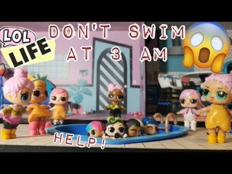 LOL Life! LOL Dolls Stop Motion Miniseries - Don't Swim at 3 am! Swimming Nightmare!