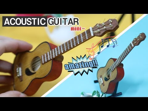 [MINIATURE] DIY How to Make Acoustic Guitar -Tutorial 미니어쳐 통기타 만들기!!