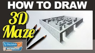 How to Draw a 3D Maze - Two Point Perspective
