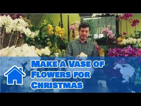christmas flower arrangements in a vase