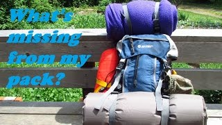 Backpack load out for a hike in camping trip