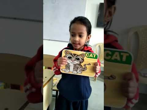 Word Recognition by using Flash Cards. Class LKG.  Branch Maruti Kunj