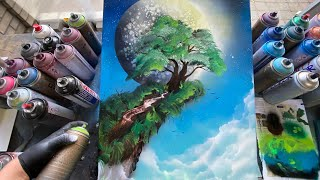 TREE ON THE CLIFF - SPRAY PAINT ART by Skech