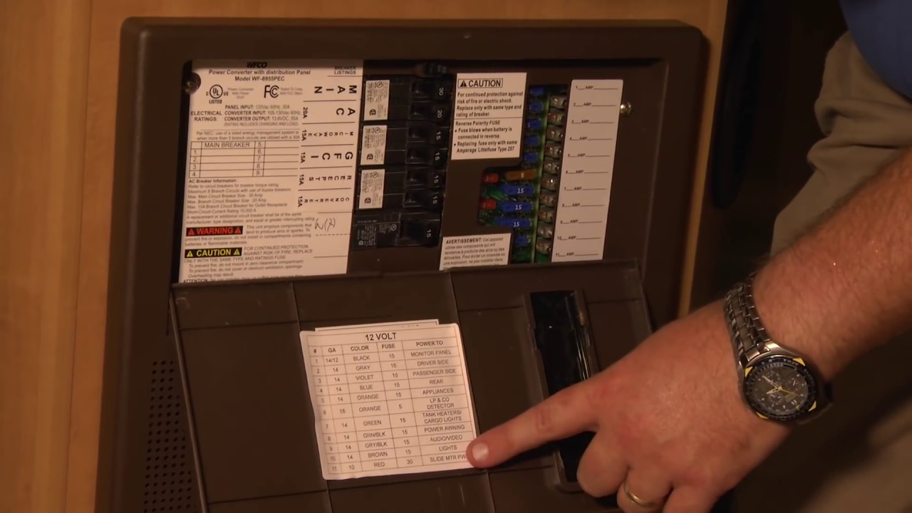 Rv Fuse Box Melted Basic Wiring Schematic Plumbing Schematics Power Converter Location Youtube