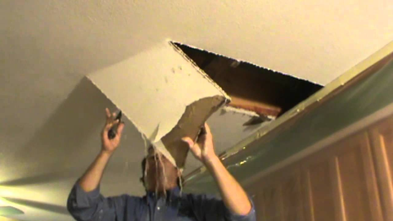 Water Damaged Drywall Repair - Opening Ceiling - YouTube