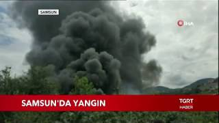 Samsun'da Plastik Fabrikası Alev Alev Yanıyor