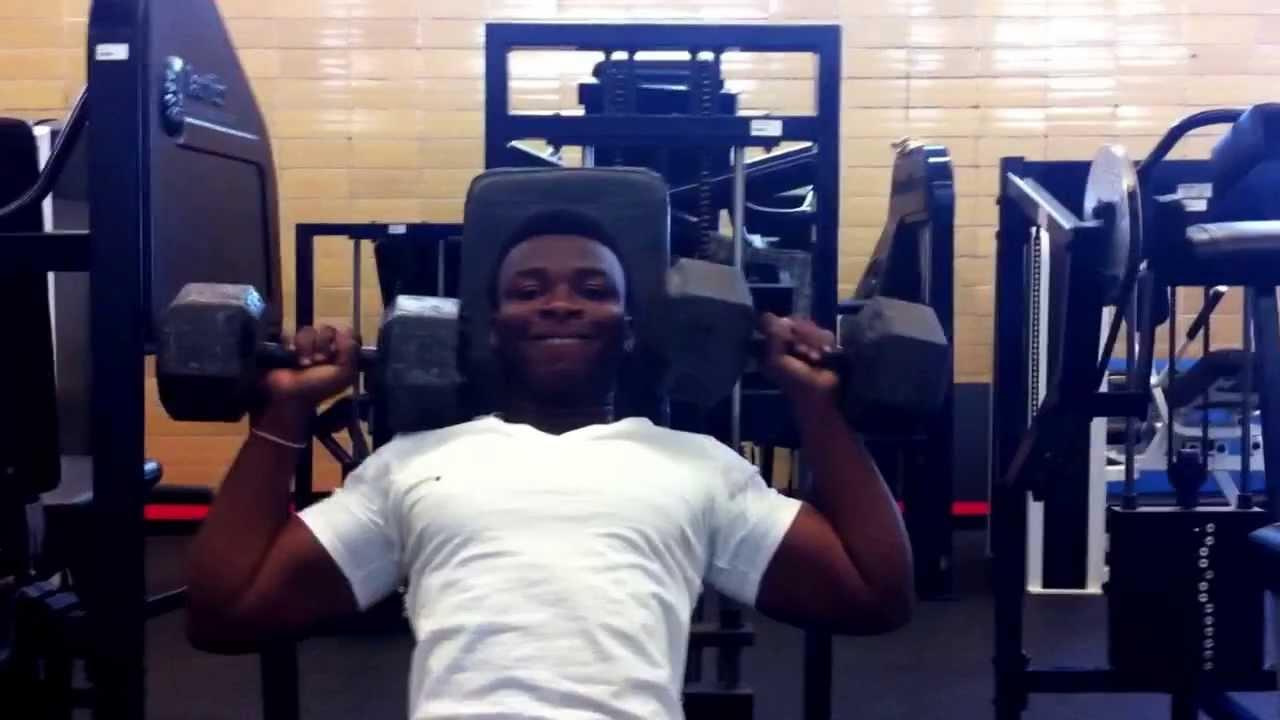 Dumbbell shoulder press, 50 pound - YouTube