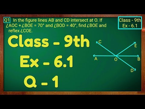 Class - 9th, Ex - 6 1, Q 1 (Lines and Angles) Maths NCERT