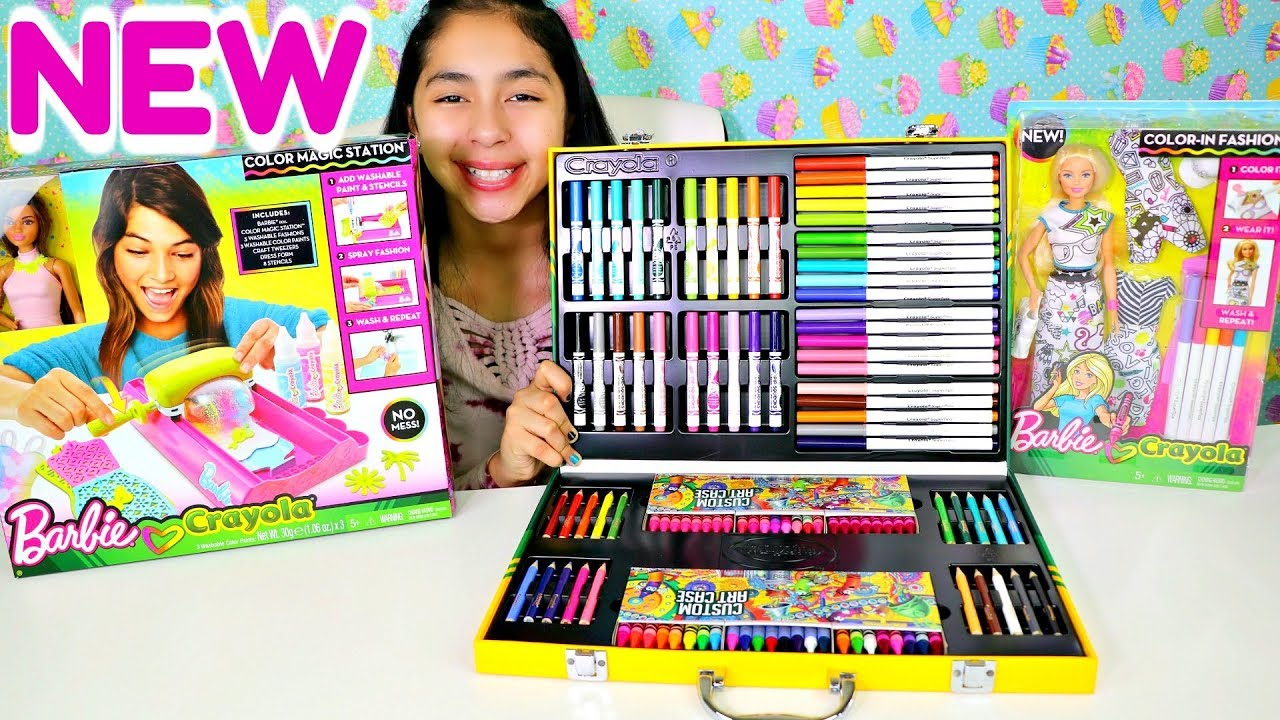 NEW Barbie & Crayola Color Magic station Color-in Fashions Art Case Kit  |B2cutecupcakes