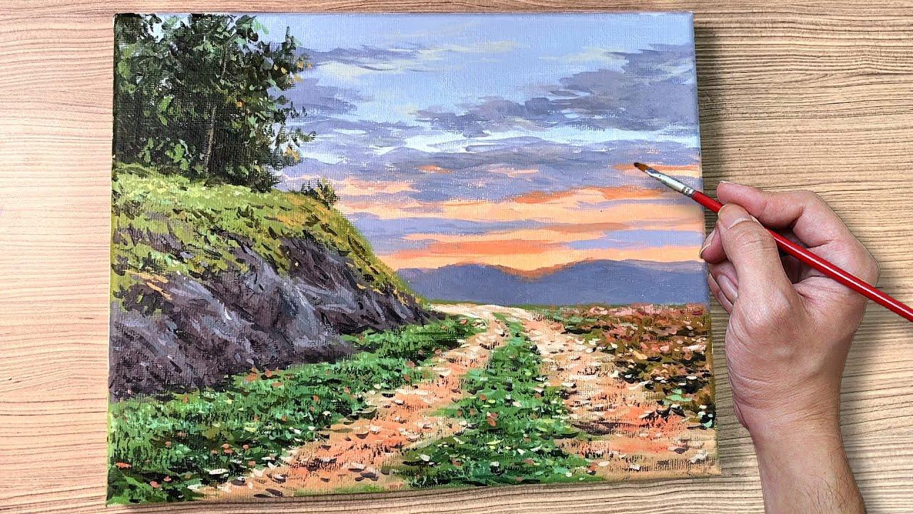 Acrylic Painting Dirt Path Sunset Landscape