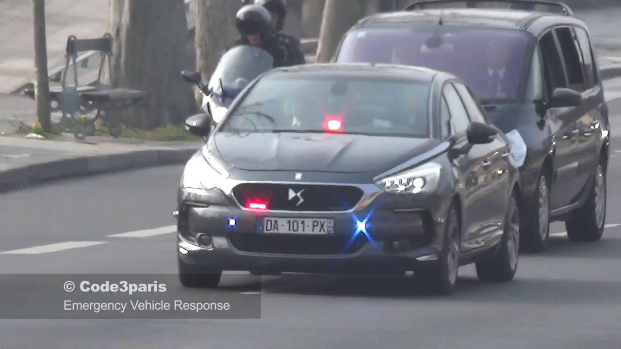 Police Escort French Presidential Motorcade Youtube
