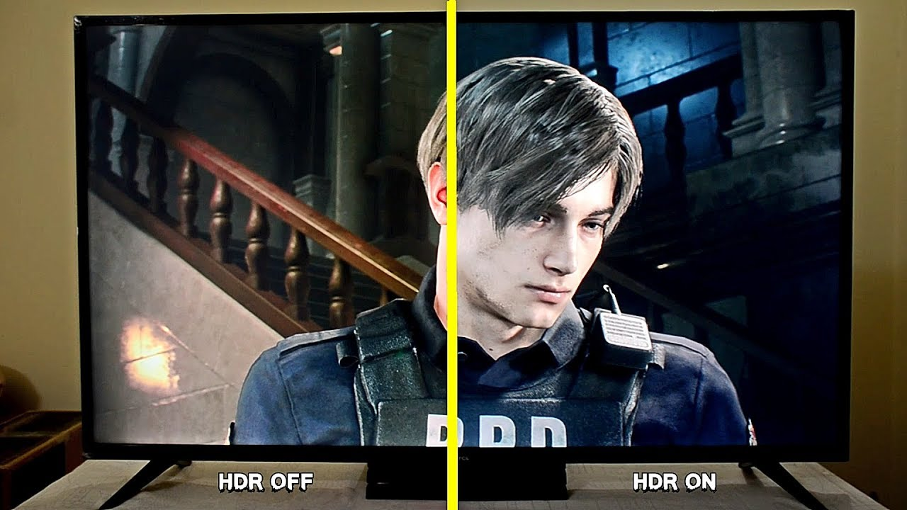 TCL P65 - Resident Evil 2 PS4 PRO HDR On Vs HDR Off Comparison (TCL 4K LED)