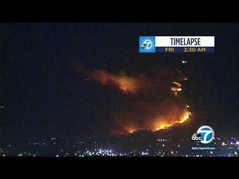 Time lapse shows fast-moving Saddleridge Fire burning