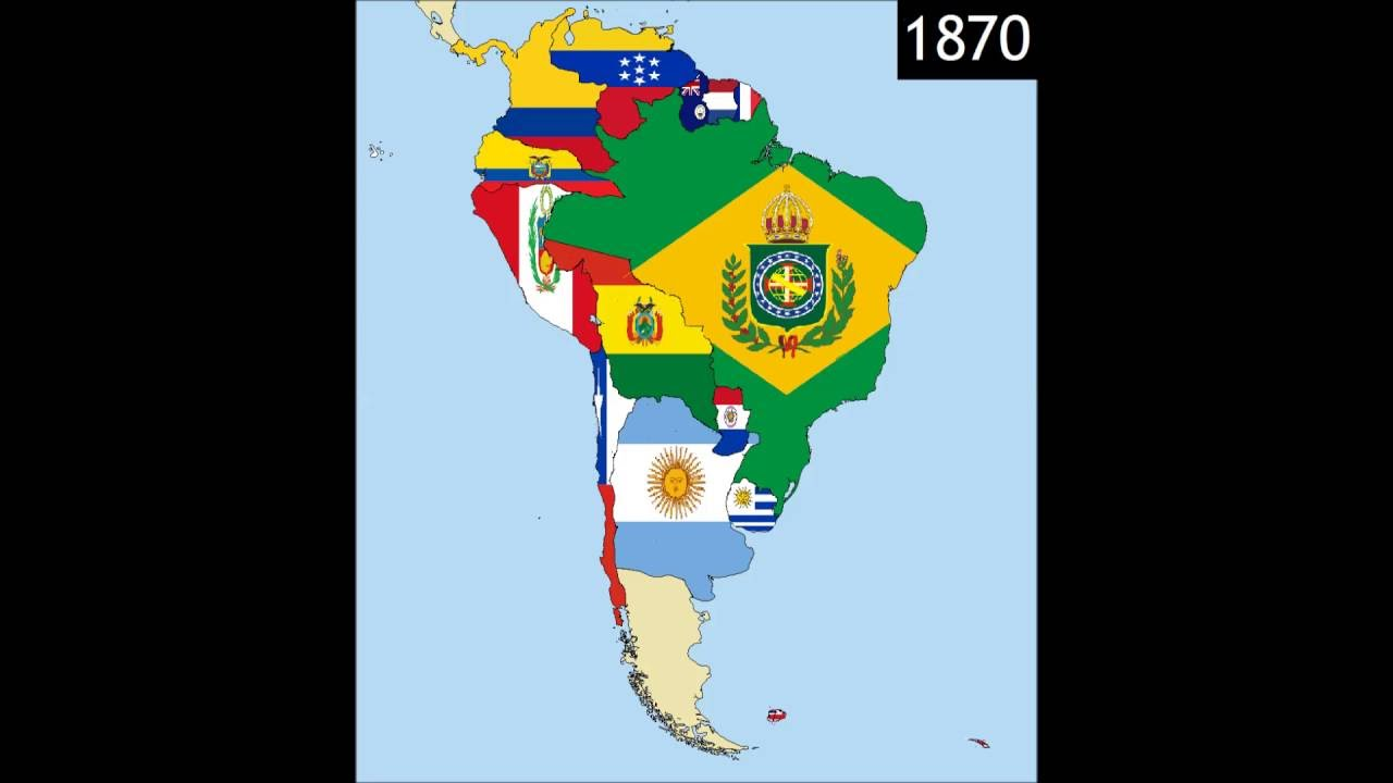 Map Of South America 2017.South America Timeline Of National Flags Part 2