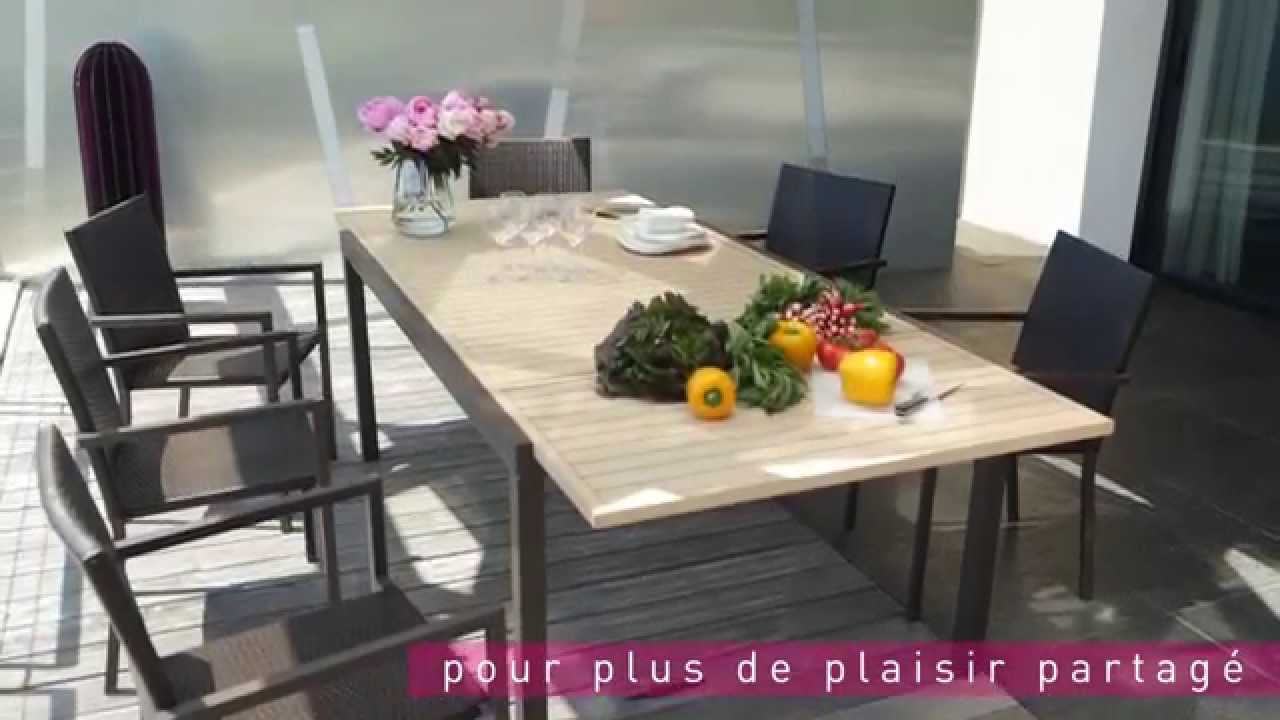 Table chaises riverside le mobilier de jardin by carrefour collection 2015 youtube - Table de jardin lumineuse ...