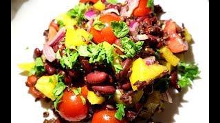 Салат с чёрным рисом, красной фасолью, соевым соусом