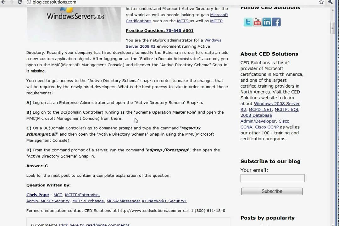70 640 Exam Prep Microsoft Certification Mcitp Youtube