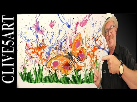 splatter butterfly | Acrylic painting for beginners | #clive5art