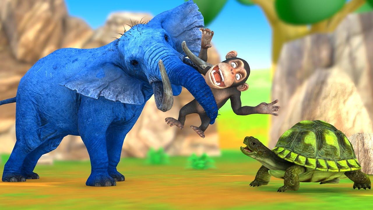 बंदर कछुआ और हाथी की दोस्ती कहानी Hindi Kahaniya - Panchatantra Moral Stories - 3D Hindi Fairy Tales