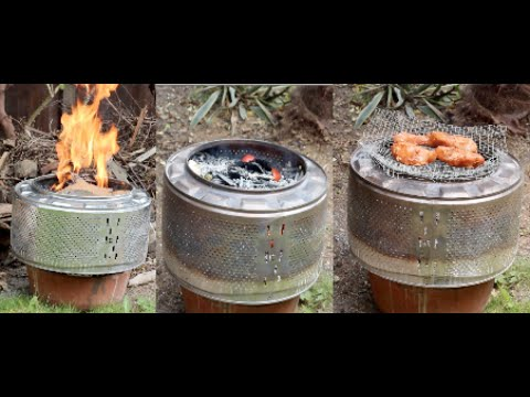 diy recycling 2 washing machine drum turned into an incinerator an oven and a grill youtube. Black Bedroom Furniture Sets. Home Design Ideas