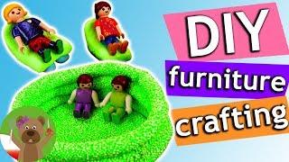 Meble Playmobil | basen z leżakami dla ludzików Playmobil z Foam Clay i Silk Clay
